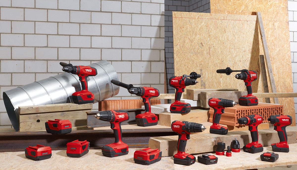 Hilti portfolio of drill drivers and hammer drills