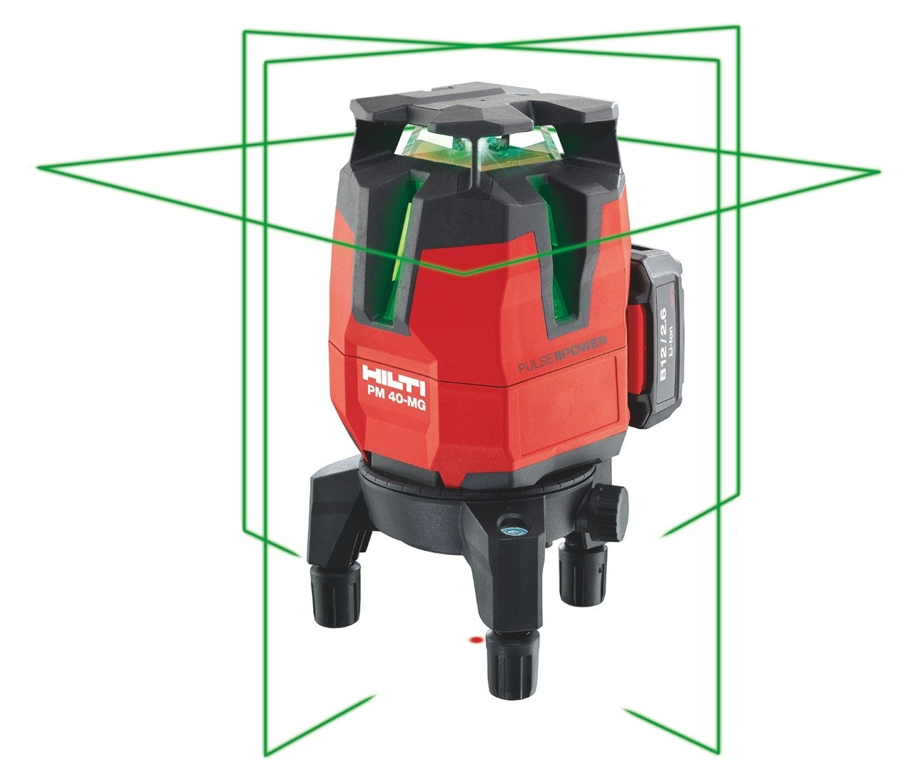 Hilti PM 40-MG green beam multi-line laser with four vertical lines and one 360° line